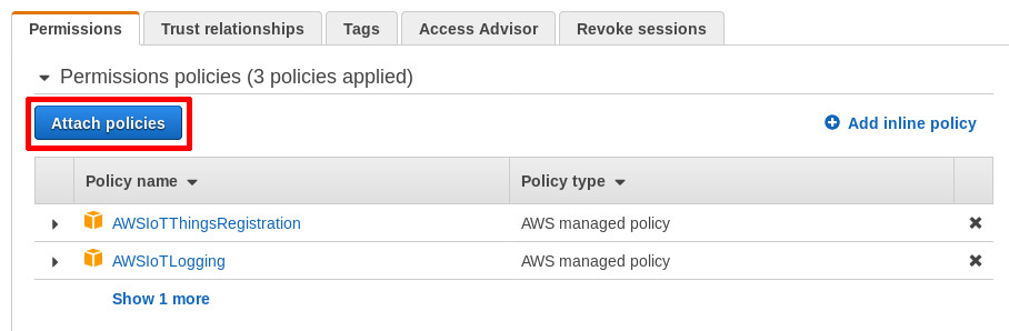 Click on Attach policies