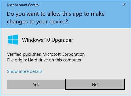 Windows User Account Control Dialog for a Windows Update Executable