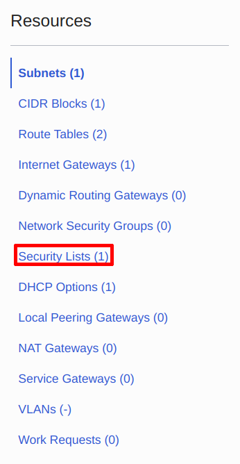 Navigate to Security List