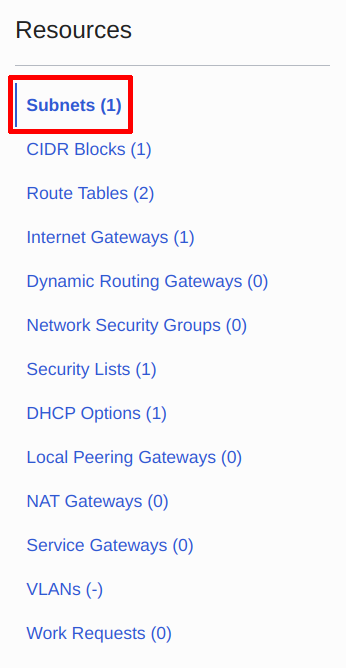 Navigate back to the subnet page
