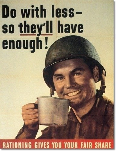 A propaganda poster for coffee rationing